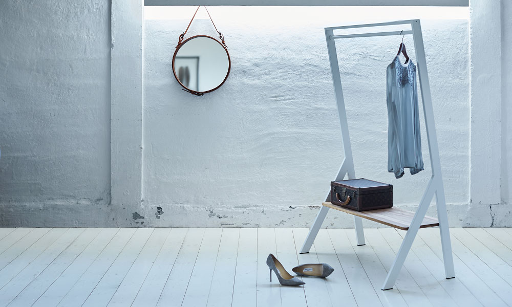 FM klädställning har en stilren och smakfull design